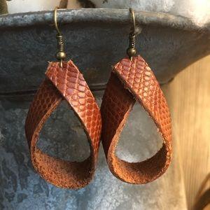 Warm spice Reptile leather earrings hoops. Fall
